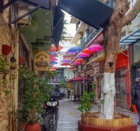 Umbrella Street in Heraklion (Tsikritzi – Πεζόδρομος Τ...