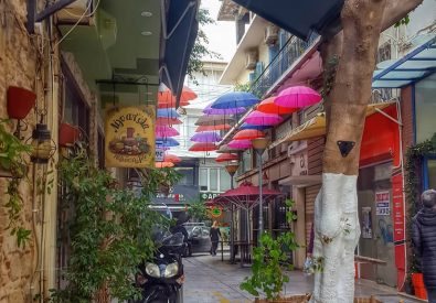 Umbrella Street in Heraklion (Tsikritzi – Πεζόδρομος Τ...